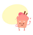 sweet humanized cupcake brownie character vector image