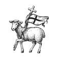 Lamb with Cross Religion symbol Sketch vector image