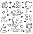 doodle of candy various collection vector image