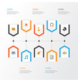 music flat icons set collection of media ear vector image