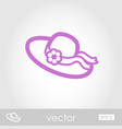 Beach hat outline icon summer vacation vector image