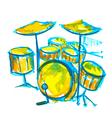 drums watercolor vector image