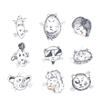 Hand drawn cat icons vector image