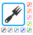 cultivator rake framed icon vector image