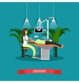Dentist works with patient poster Dental vector image