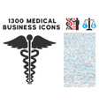 medical caduceus emblem icon with 1300 medical vector image