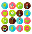 Spring Gardening Circle Icons Set with long Shadow vector image