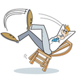 Man falling off chair vector image vector image