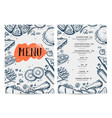 restaurant food menu hand drawn design vector image