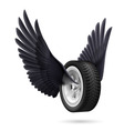 Wheel with wings vector image vector image
