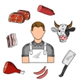 Butcher with meat and knife sketches vector image