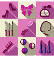 Beauty flat square icons with long shadows vector image