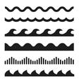 black wave icons set vector image