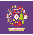 Christmas Card with Flat Icons Set and Santa Claus vector image