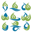 Drop and leaves signs symbols and icons vector image