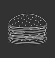outlined fast food burger vector image