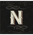 retro style western letter design letter n vector image