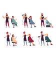 Set of different hairdresser trendy man and woman vector image