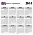 Calendar 2014 English Type 16 vector image vector image
