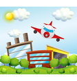 An airplane in the city vector image