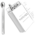 Matches and box sketch doodle icon vector image vector image