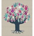 Winter colors Diversity Tree hands vector image vector image