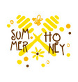 summer honey logo colorful hand drawn vector image