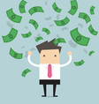 Businessman happy with a lot of banknote flowing vector image vector image