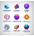 set of abstract 3d logos icons design vector image