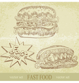 vintage fast food vector image vector image