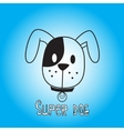 image of dog on blue background vector image