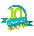 Cute Nature Flower Template 10 Years Anniversary vector image