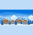 alpine chalet houses winter resort vector image