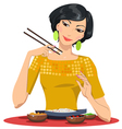 beautiful girl eats with chopsticks vector image