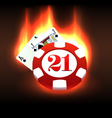 Burning casino chip and cards vector image