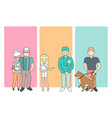 cartoon people characters bring pets in veterinary vector image