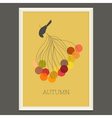 Colorful autumn poster with berries and bird vector image