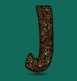 letter j with golden floral decor vector image