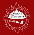 red silhouette santa claus flying with reindeer vector image