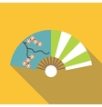 Asian fan icon flat style vector image