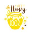 sweet honey 100 percent logo colorful hand drawn vector image