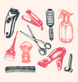 barber equipment - of hand drawn vector image