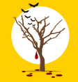 Halloween background Tree with blood dripping vector image vector image