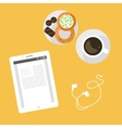 Morning breakfast day planning Tablet pc on table vector image