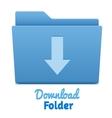 Blue download folder vector image