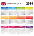 Calendar 2014 English Type 16 vector image
