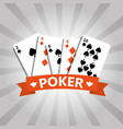 poker playing cards deck casino gambling banner vector image