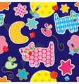 Seamless pattern - sweet dreams - cat mouse stars vector image