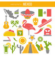 set of mexico travel symbols mexican flat vector image
