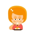 Little Red Head Girl In Red Dress Eating Flat vector image